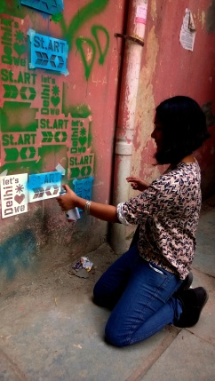 Showing one's love for street art and Delhi on Delhi Dallying's very own graffiti wall!