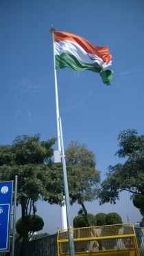 Awestruck by the HUGE tricolor at Connaught Place